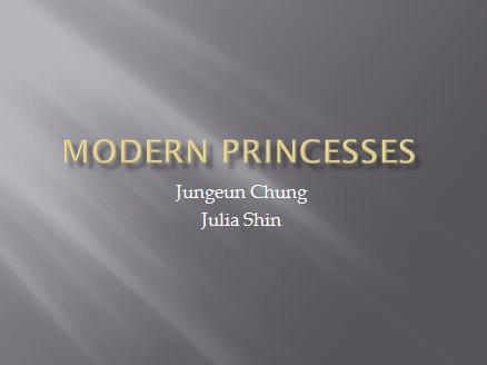 Our PowerPoint, which is about modern princesses, is focused mainly on images because of the dominance of corporate products and advertisements in our topic. However, since the concept of modern princesses can be confusing to others, we dedicated the first slide to briefly explain some key concepts of the topic so it will be easy for the audience to understand how these concepts justify some products, movies, and books as archetype and stereotypes of modern princesses. Also, we used the last 4 slides to explain the negative influence of modern princesses.